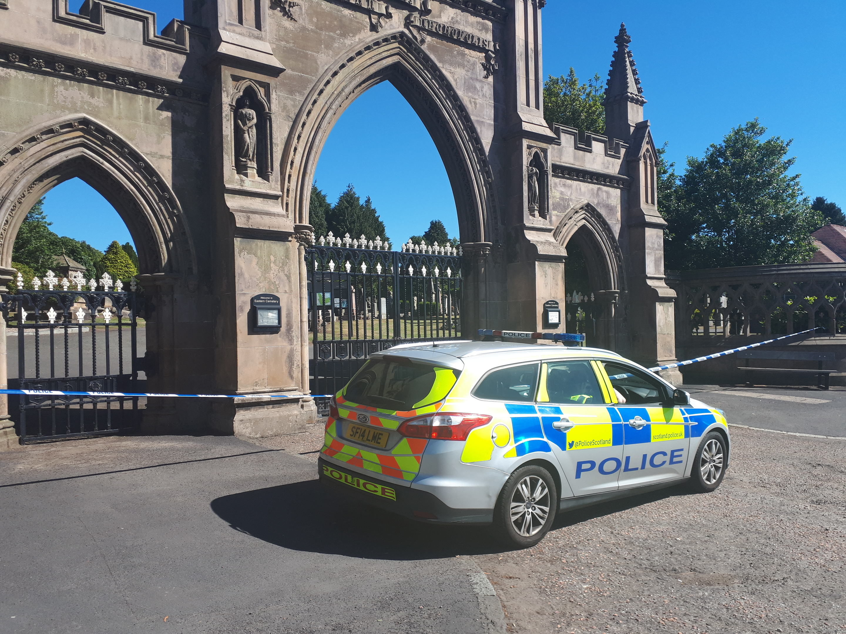 The cemetery was cordoned off on Saturday morning