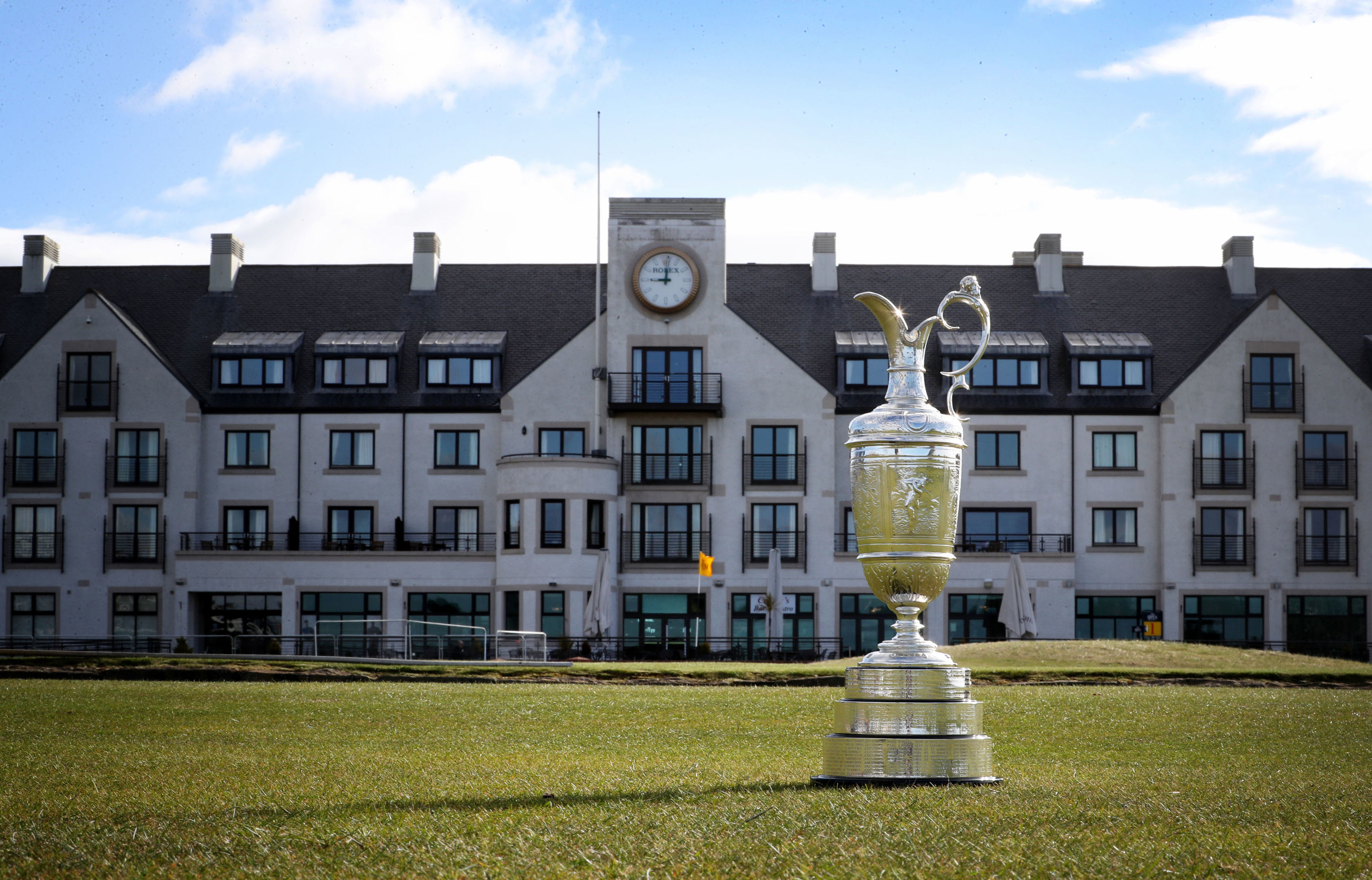 The famous Claret Jug in front of the clubhouse at Carnoustie Golf Course.