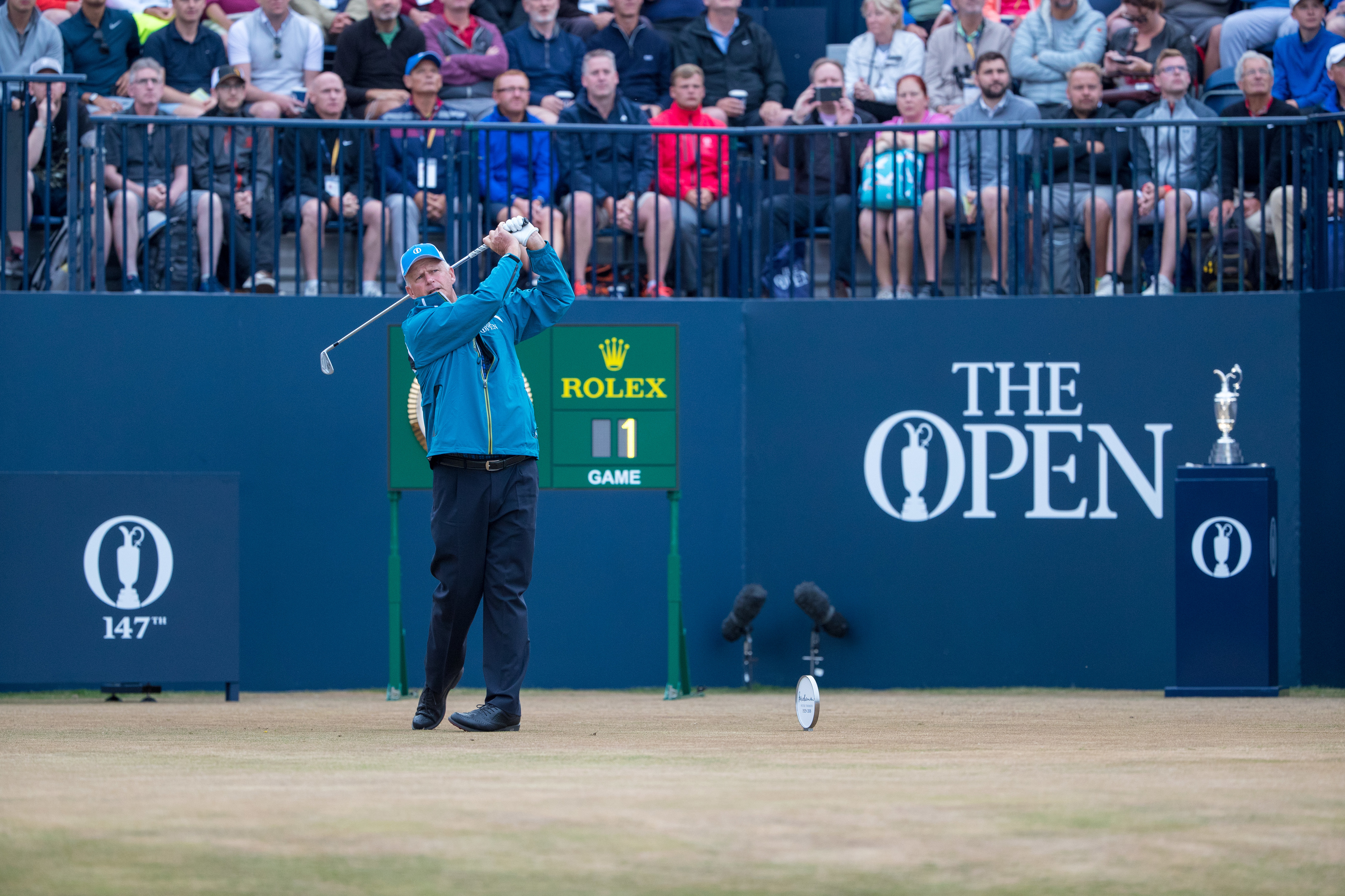Sandy Lyle tees off first during day one of the 147th Open Championship