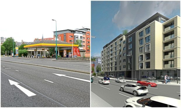 Left: The site as it is now. Right: How the development could look.