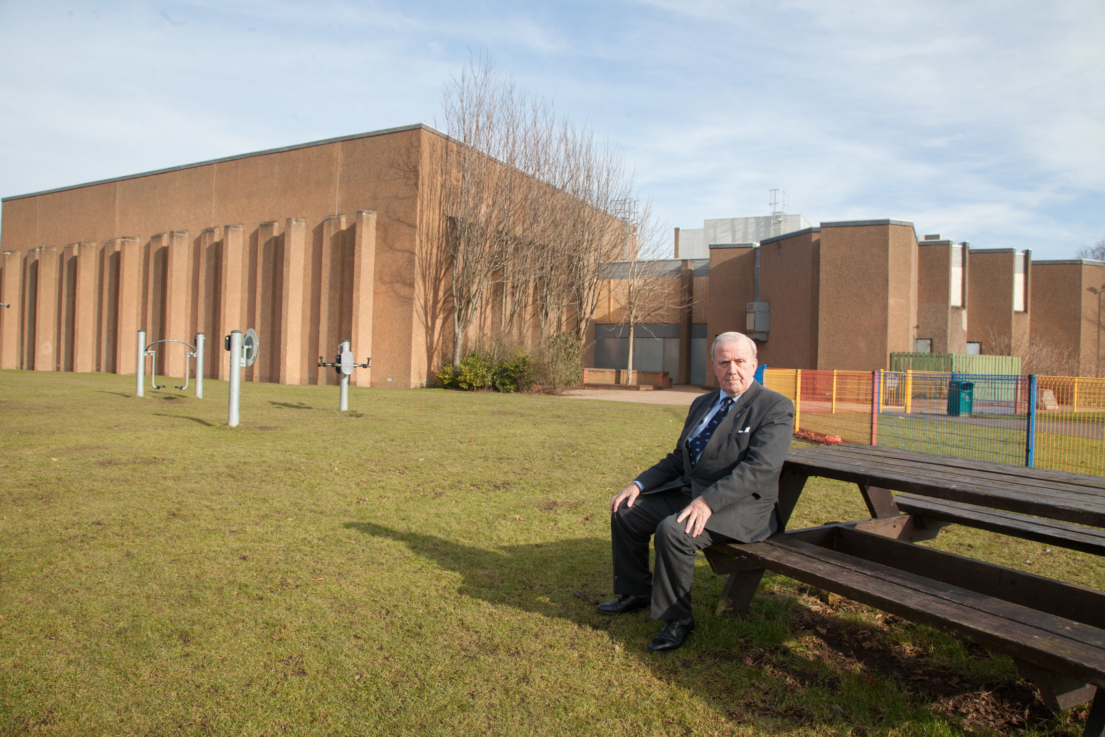 Councillor Colin Brown outside the former Lochside Leisure Centre in Forfar