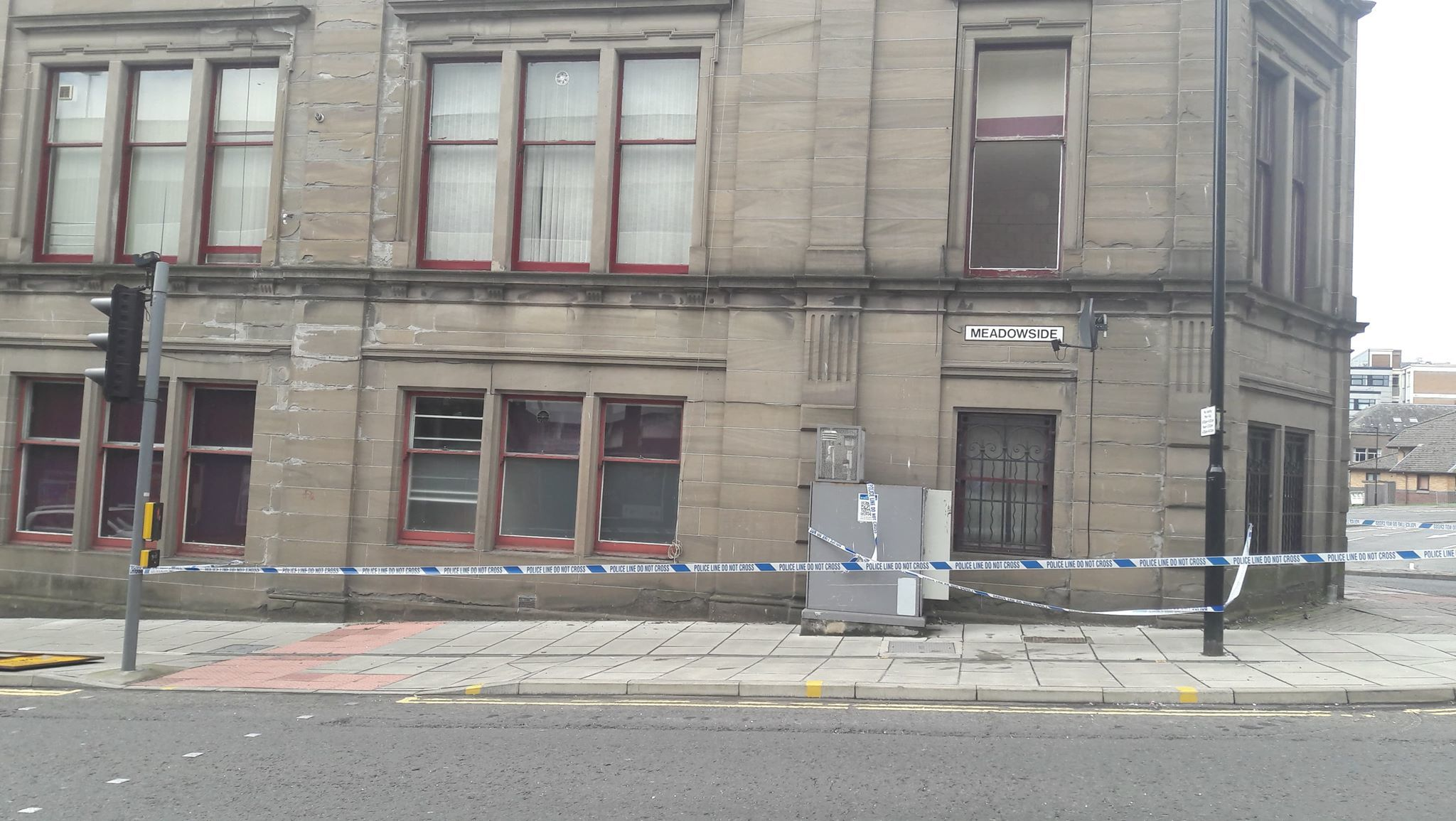 The cordoned-off area of Meadowside.