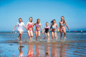 Eva Low, Jade Lyon, Katie Maclean, Lily Lyon, Clara Laing and Megan McPherson on Broughty Ferry beach