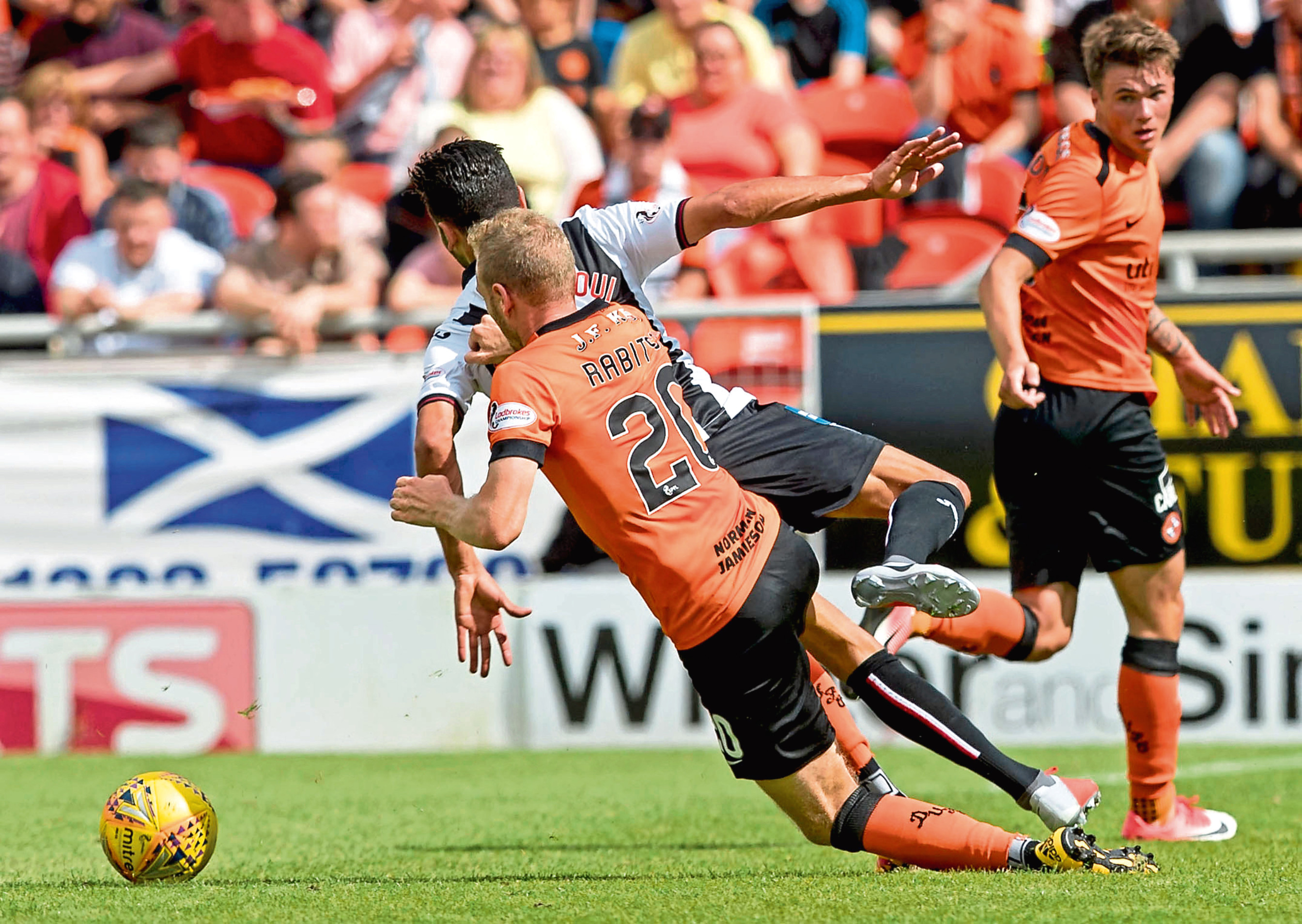 Christoph Rabitsch landed in the referee's book for a challenge on Dundee loanee Faissal El Bakhtaoui and was walking a tightrope until he was subbed.