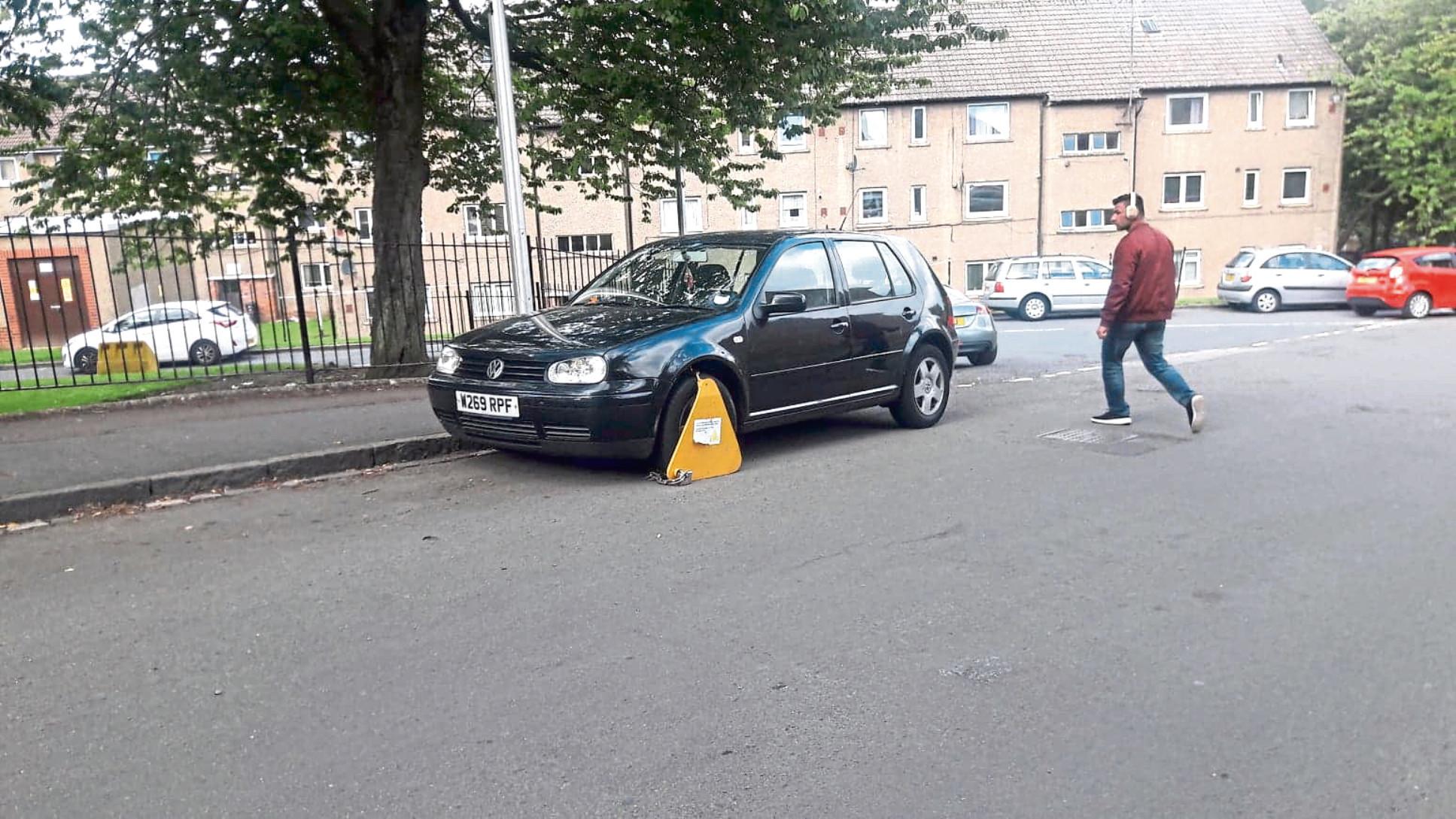 A clamped car on Saggar Street