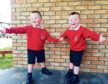 Five-year-old twins Ollie, left, and Cameron Scougal, who have their first day at school on Tuesday.