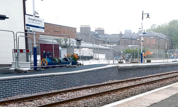 The barricaded section of Broughty Station