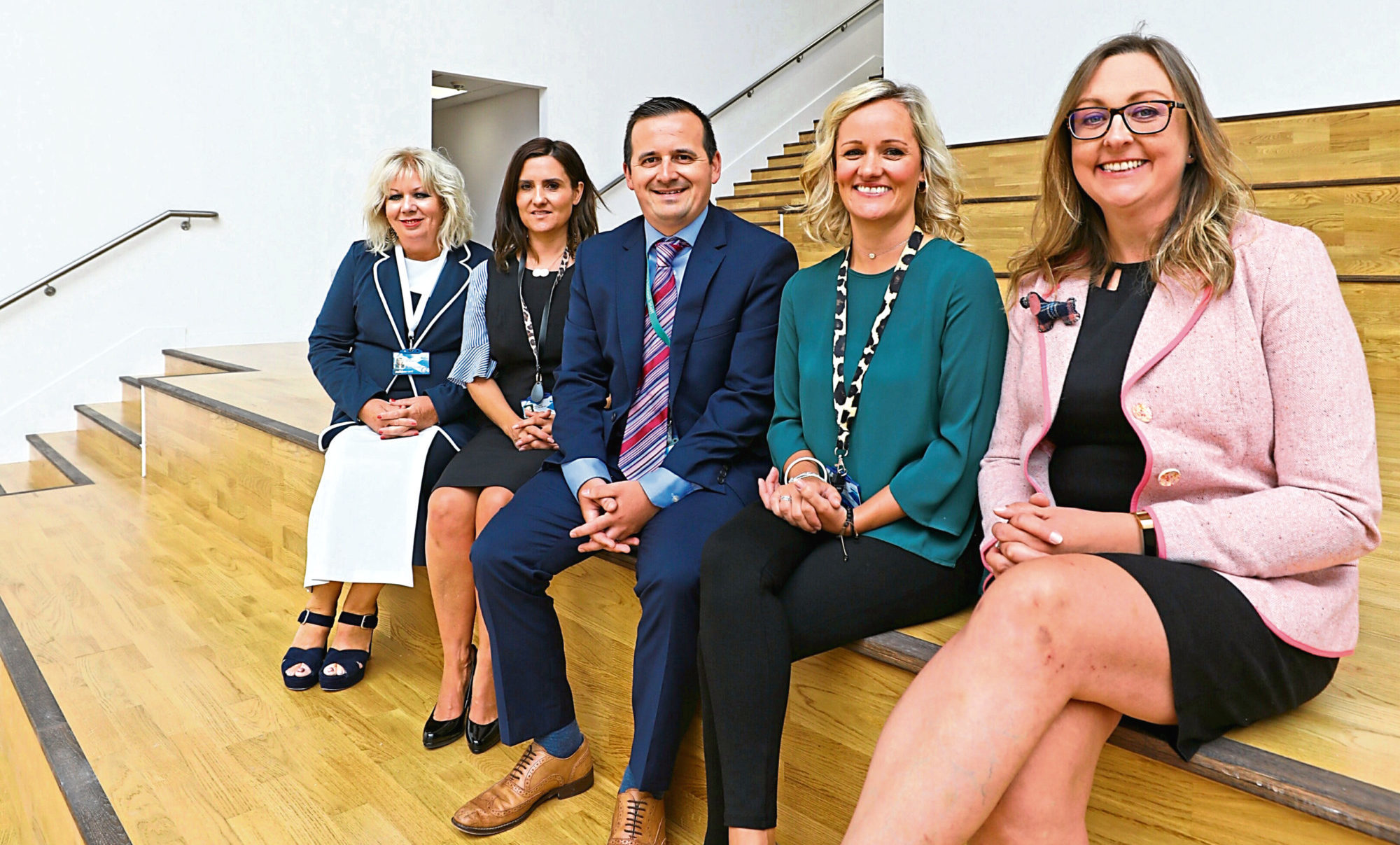 Chief education officer at Dundee City Council Audrey May, Nicola Jenkin, Neil Lowden, Susan Krachan and Councillor Smith