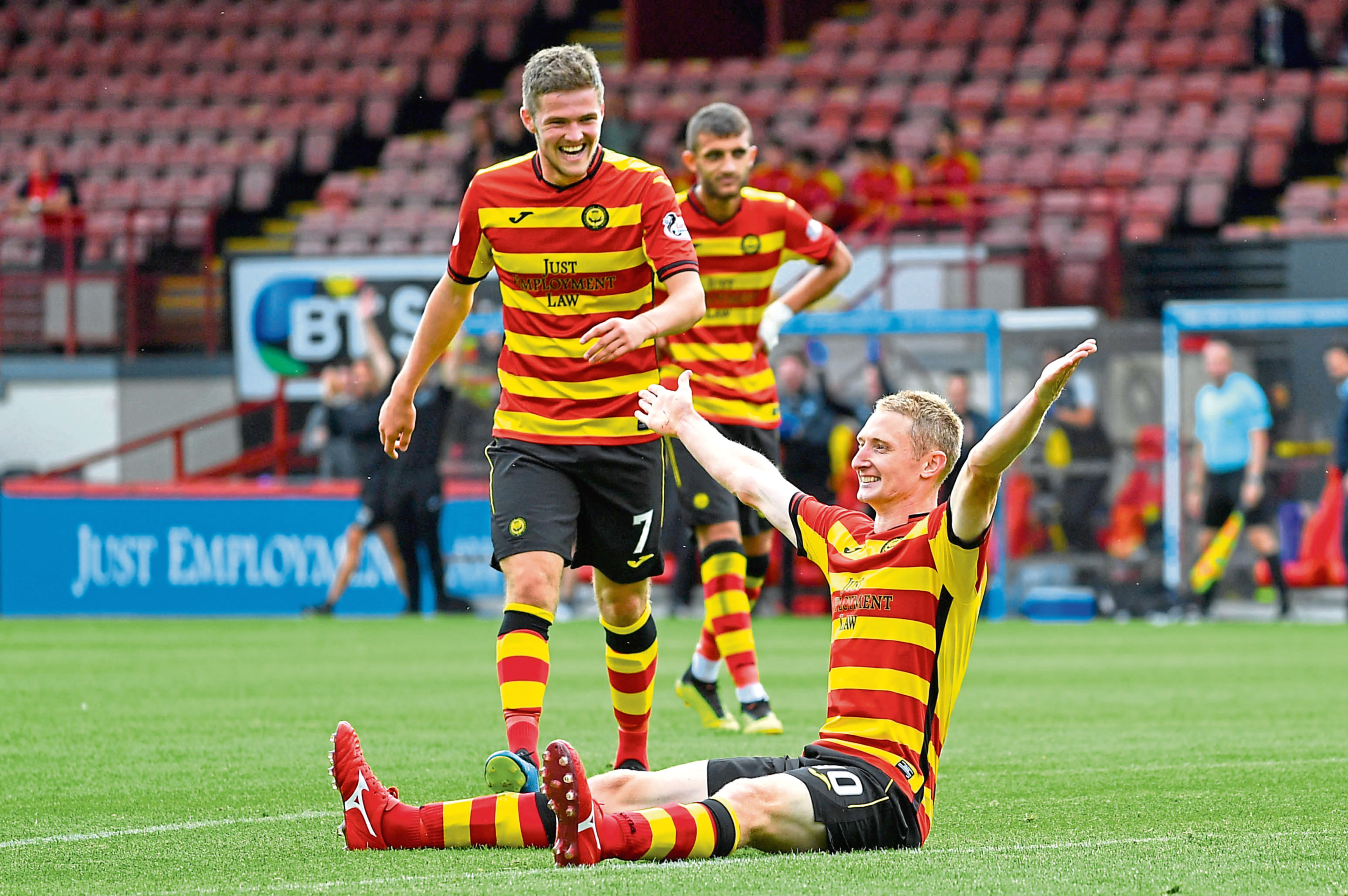 Chris Erskine is joined by Blair Spittal after scoring for Partick Thistle in their recent win over Falkirk at Firhill. United fans will hope the pair aren't celebrating at Tannadice on Saturday.