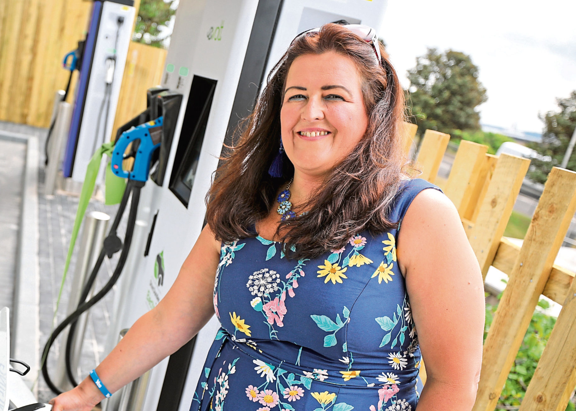 Lynne Short at the vehicle charging hub in Princes Street