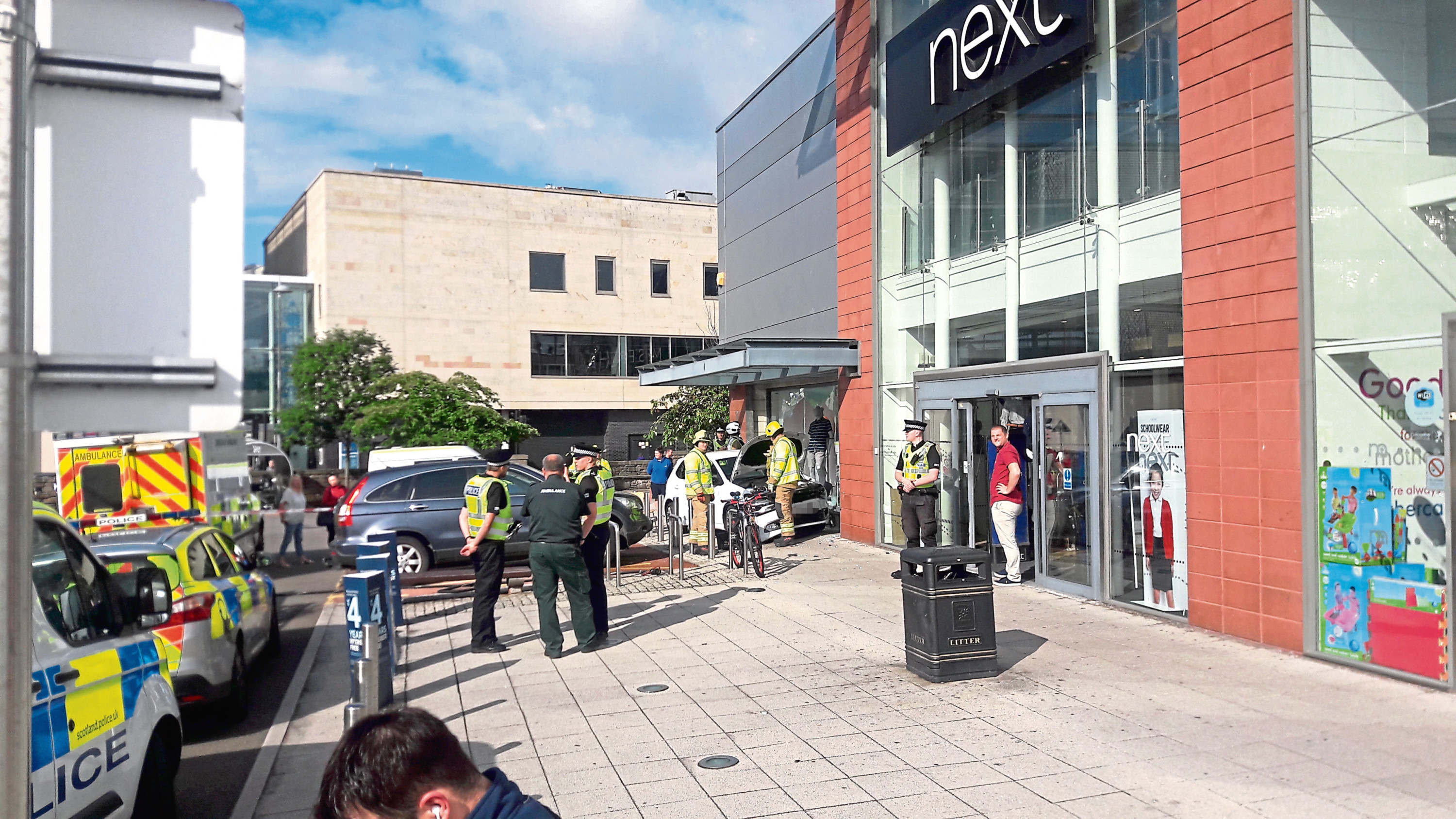 Scene of the crash at Next in the Gallagher Retail Park, Dundee