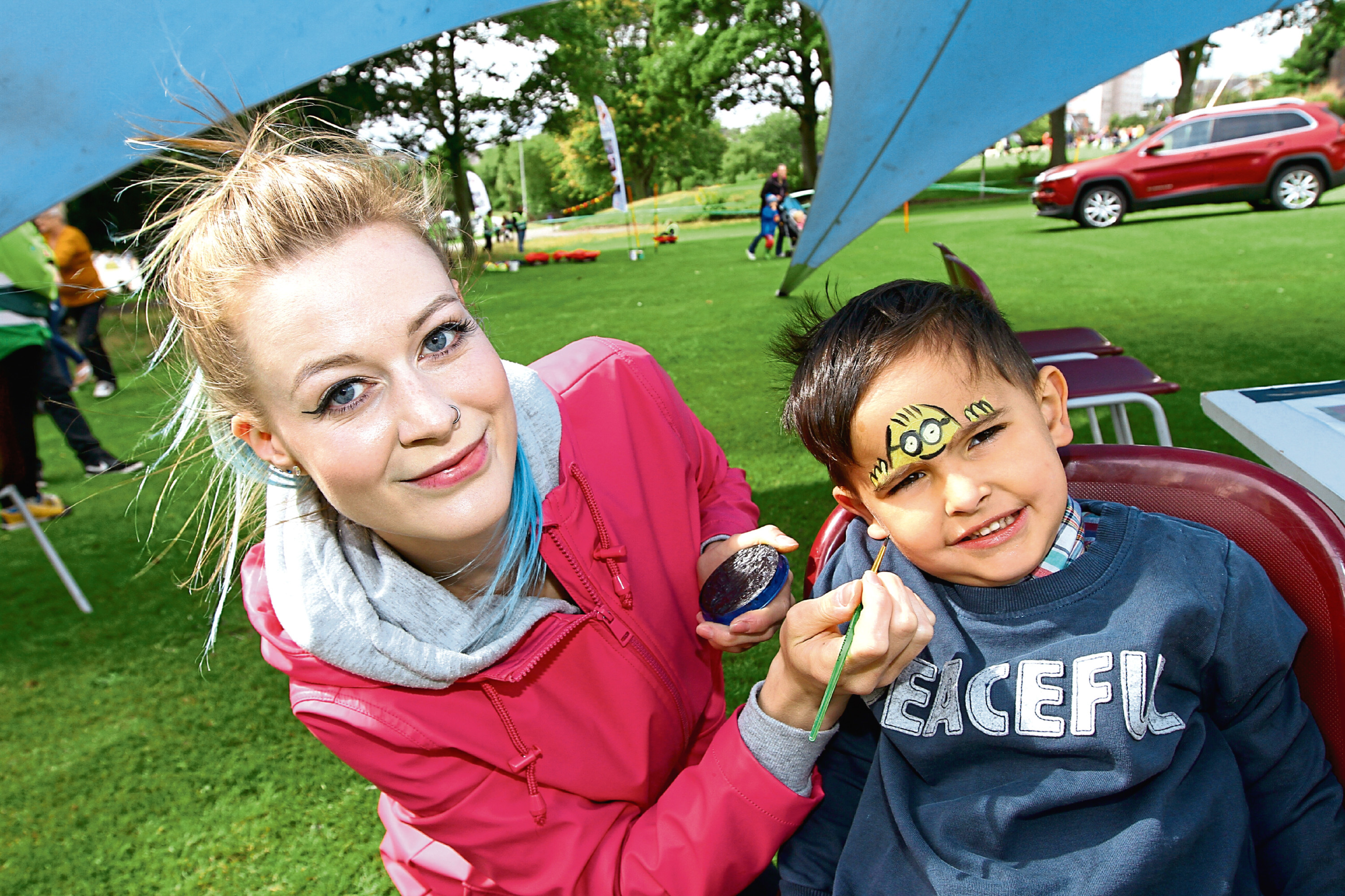 Jude Johnston, 3, with Kirsten Sutherland at Dudhope Park.