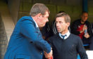 St Johnstone manager Tommy Wright and Dundee manager Neil McCann shake hands ahead of kick off