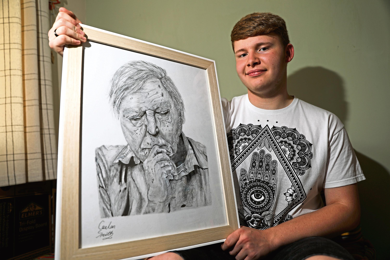 Caelan with his David Attenborough drawing