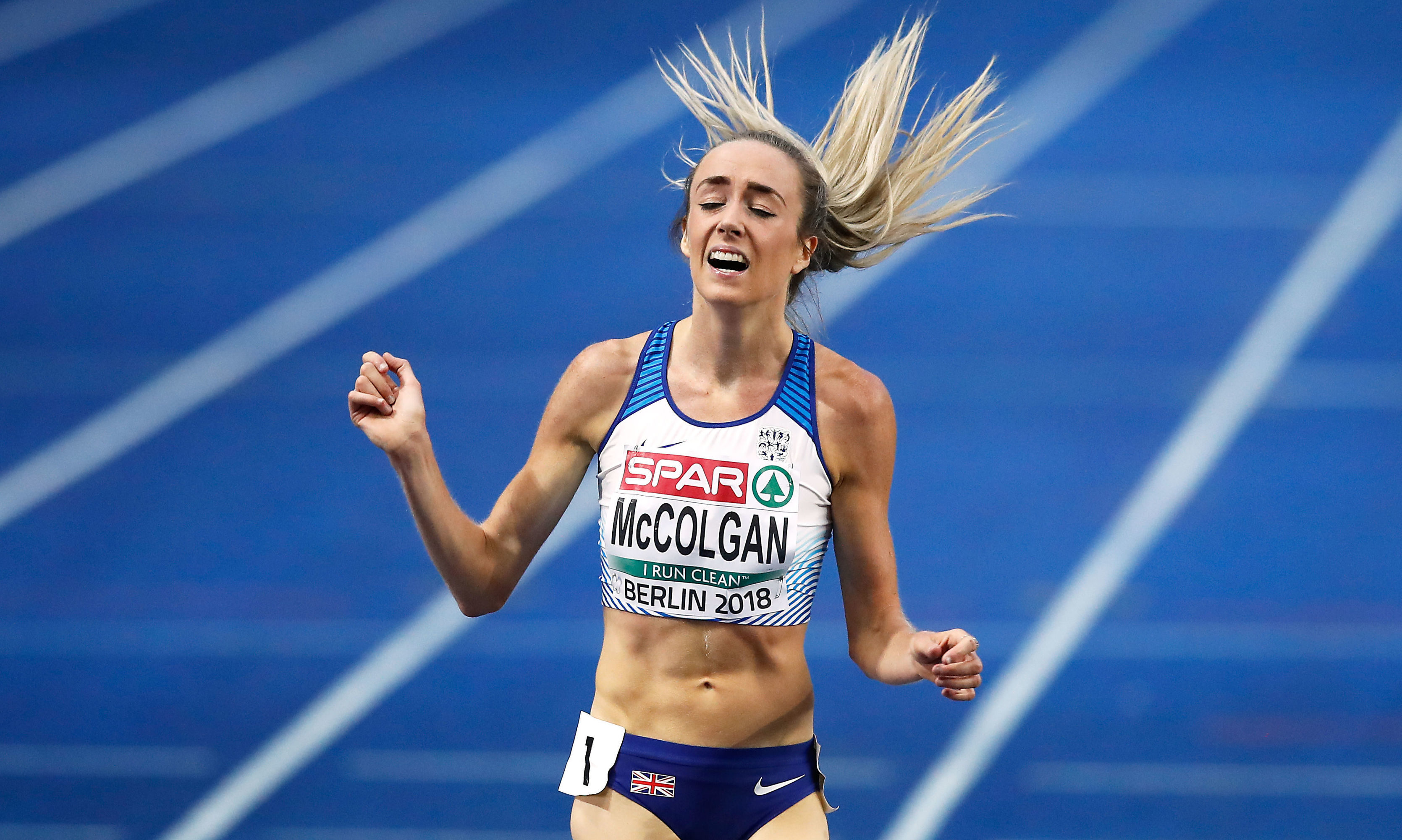 Eilish McColgan celebrates after winning silver at the European Championships in 2018.