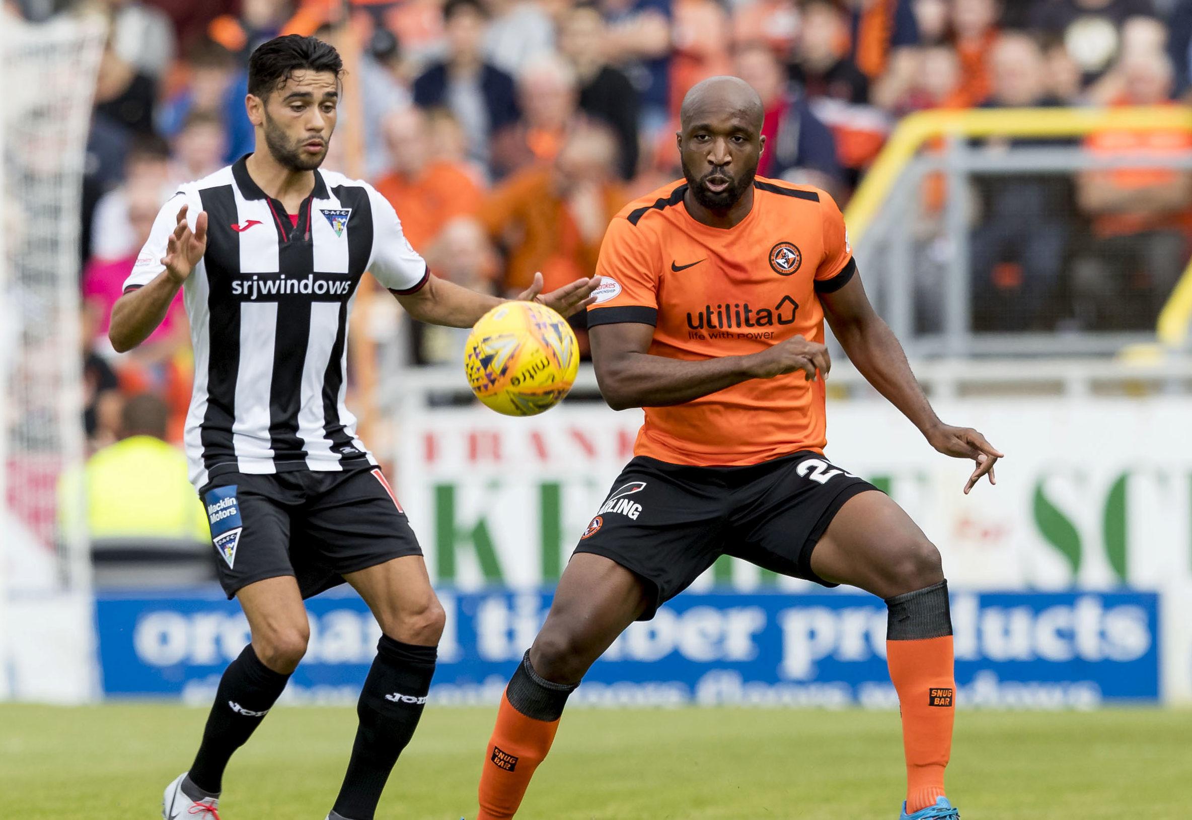 On loan Dunfermline striker Faissal El Bakhtaoui in action against United.