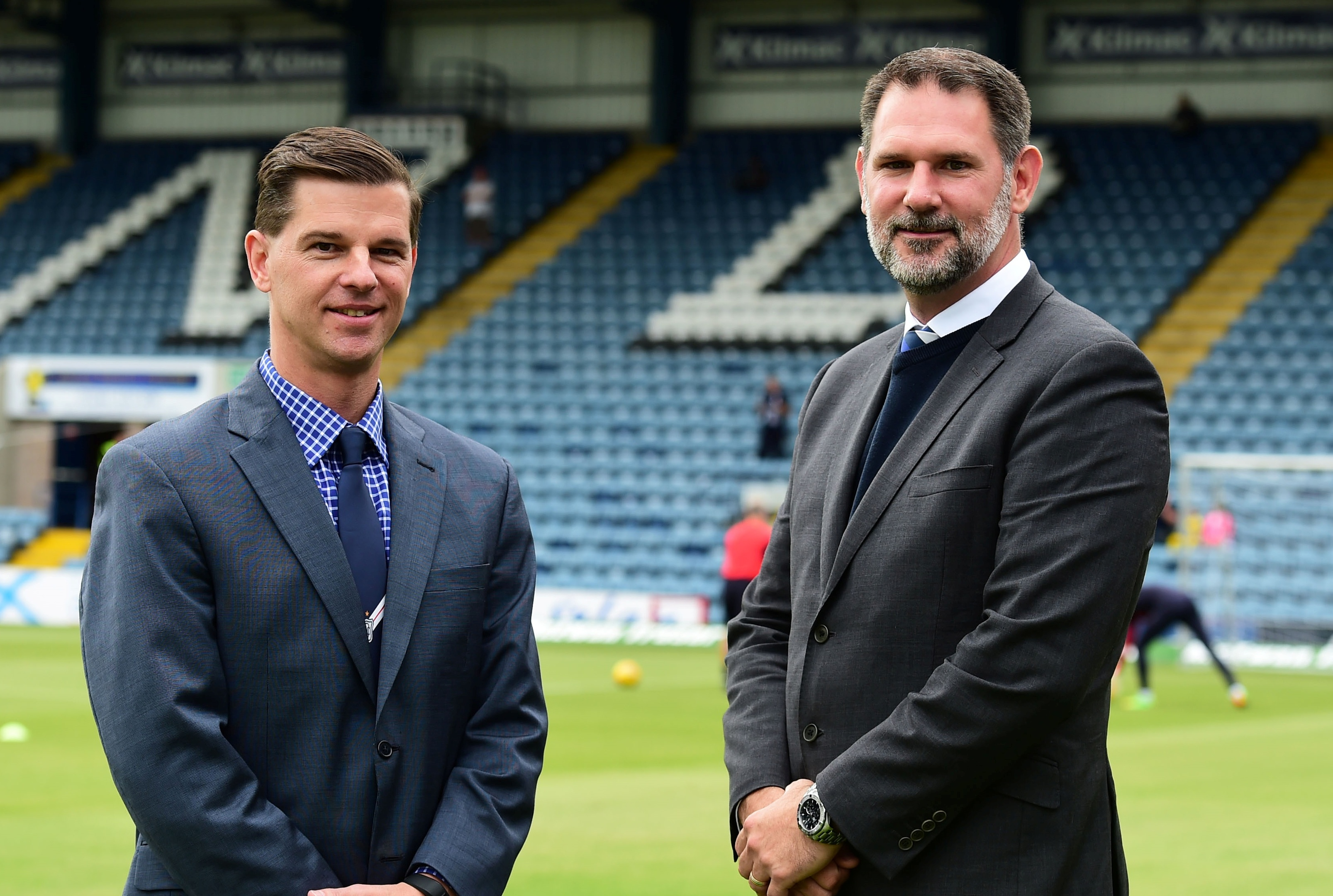 Dundee's American chiefs Tim Keyes and John Nelms at the Kilmac Stadium at Dens Park on Saturday.
