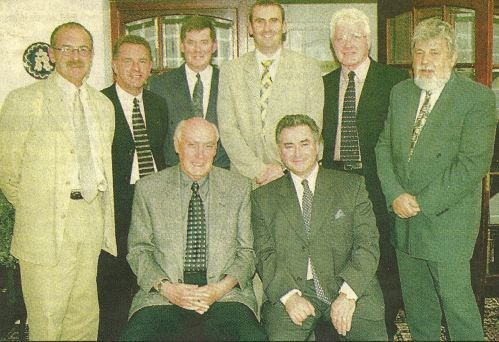 Pictured at the time; back, from left: Eddie's friends and colleagues, Jim Mackay, Jim Thomson, Bill Lochhead, Brian Gray, Dave Forbes and John Cassidy. Front: Alan Gilzean and Eddie.