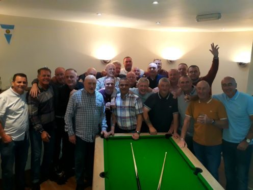 Some of those who attended the recent Lawside FP AFC reunion, recalling tales of their very successful spell in the Midland Amateur FA