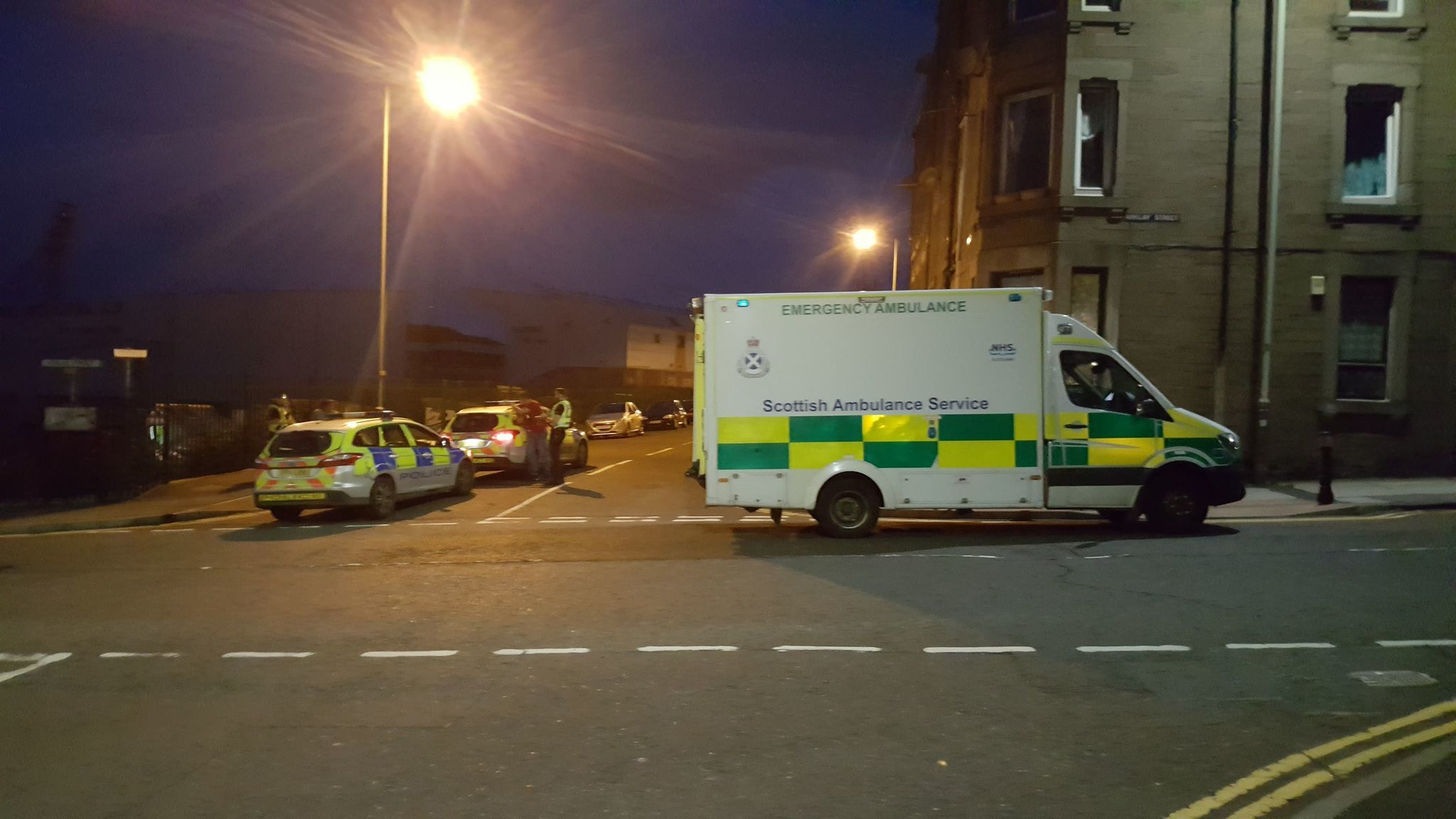Police and an ambulance at the scene.