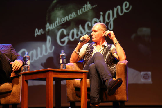 Paul Gascoigne on stage in Dundee