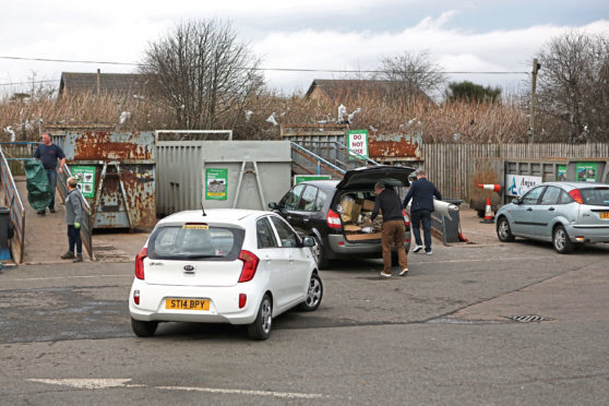 Residents at a recycling centre in Monifieth