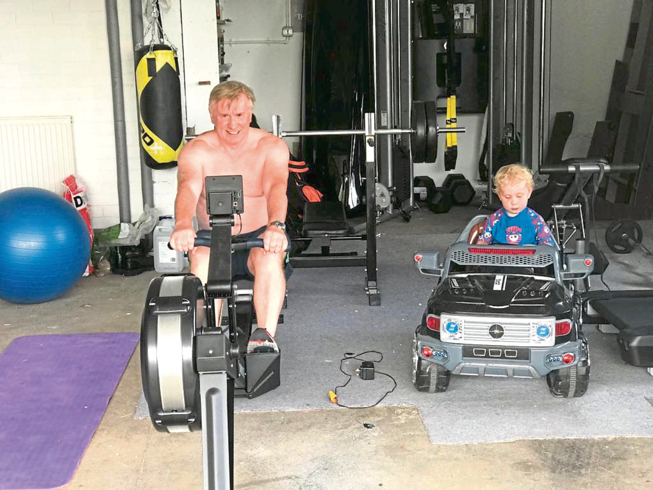 Adventurer John Davidson in training along with son Lochlann.