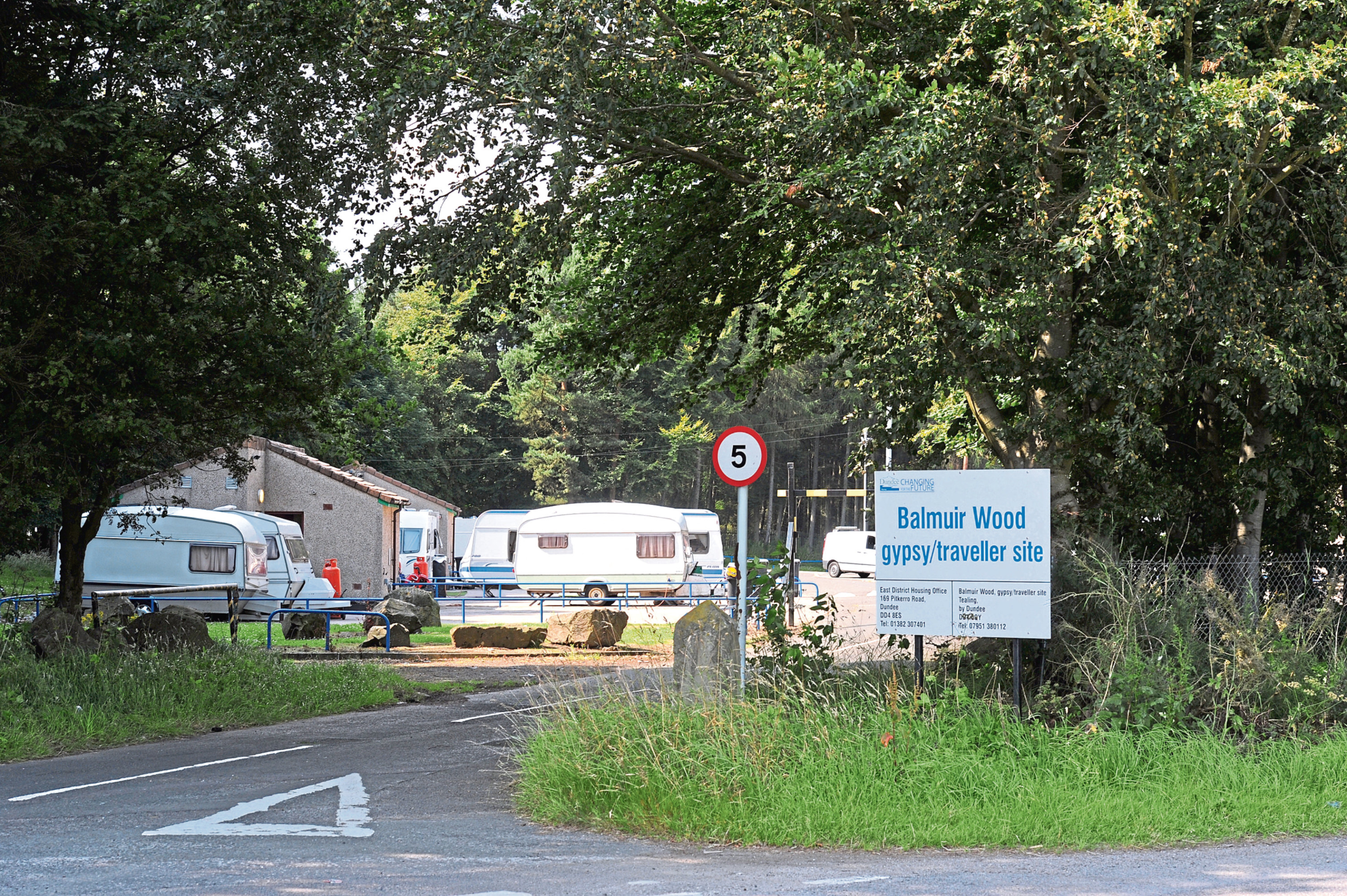 Dundee City Council's Travellers' site at Balmuir Wood, near Tealing, the only official site of its kind in the area