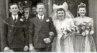James on his wedding day to Stella Strachan, who he had met before the war