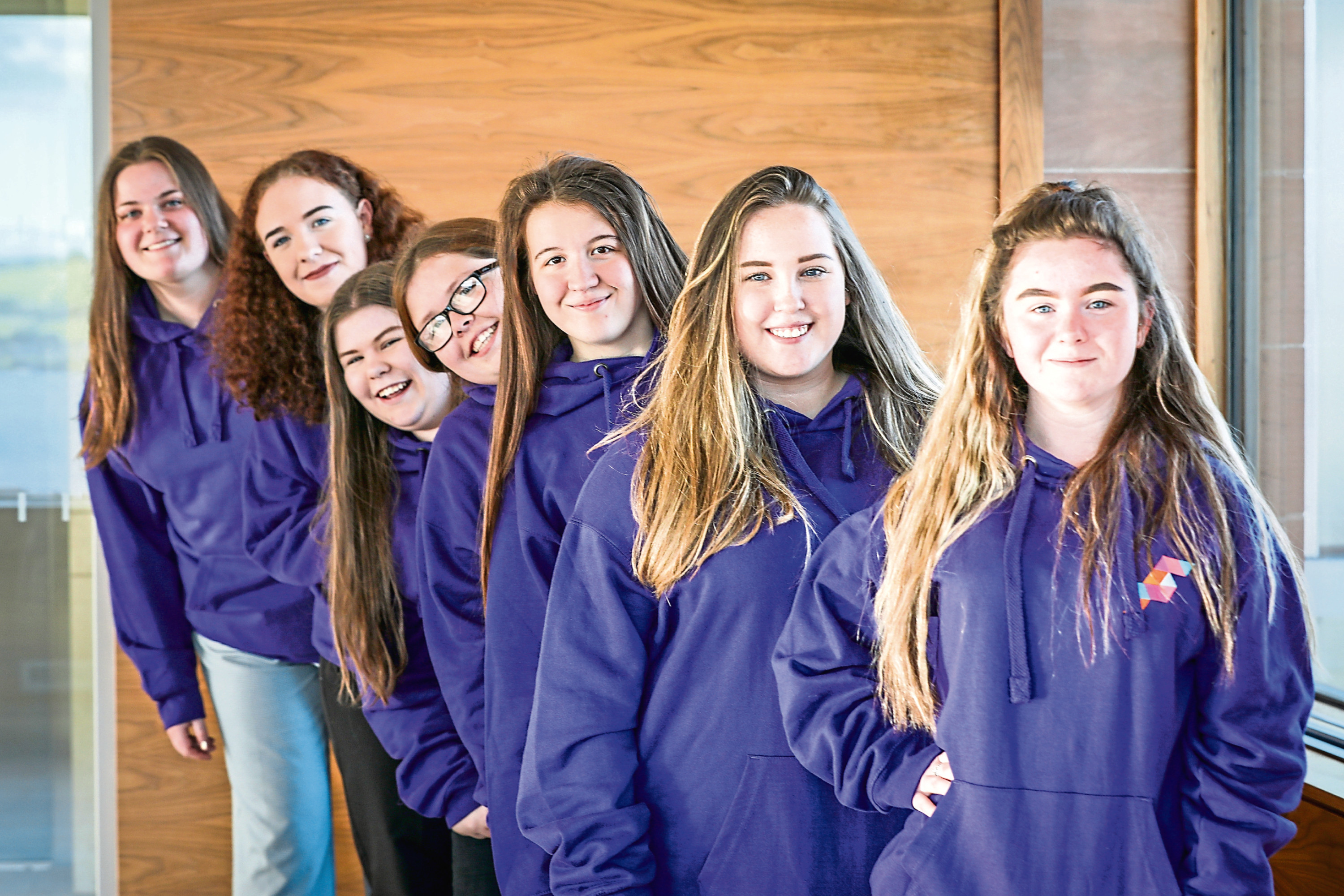 Pictured, front to back – Kai Grier, Chloe Foy, Lauren Forbes, Andrea Panton, Amanda Leigh Hay, Megan Hay and Lisa Hendry