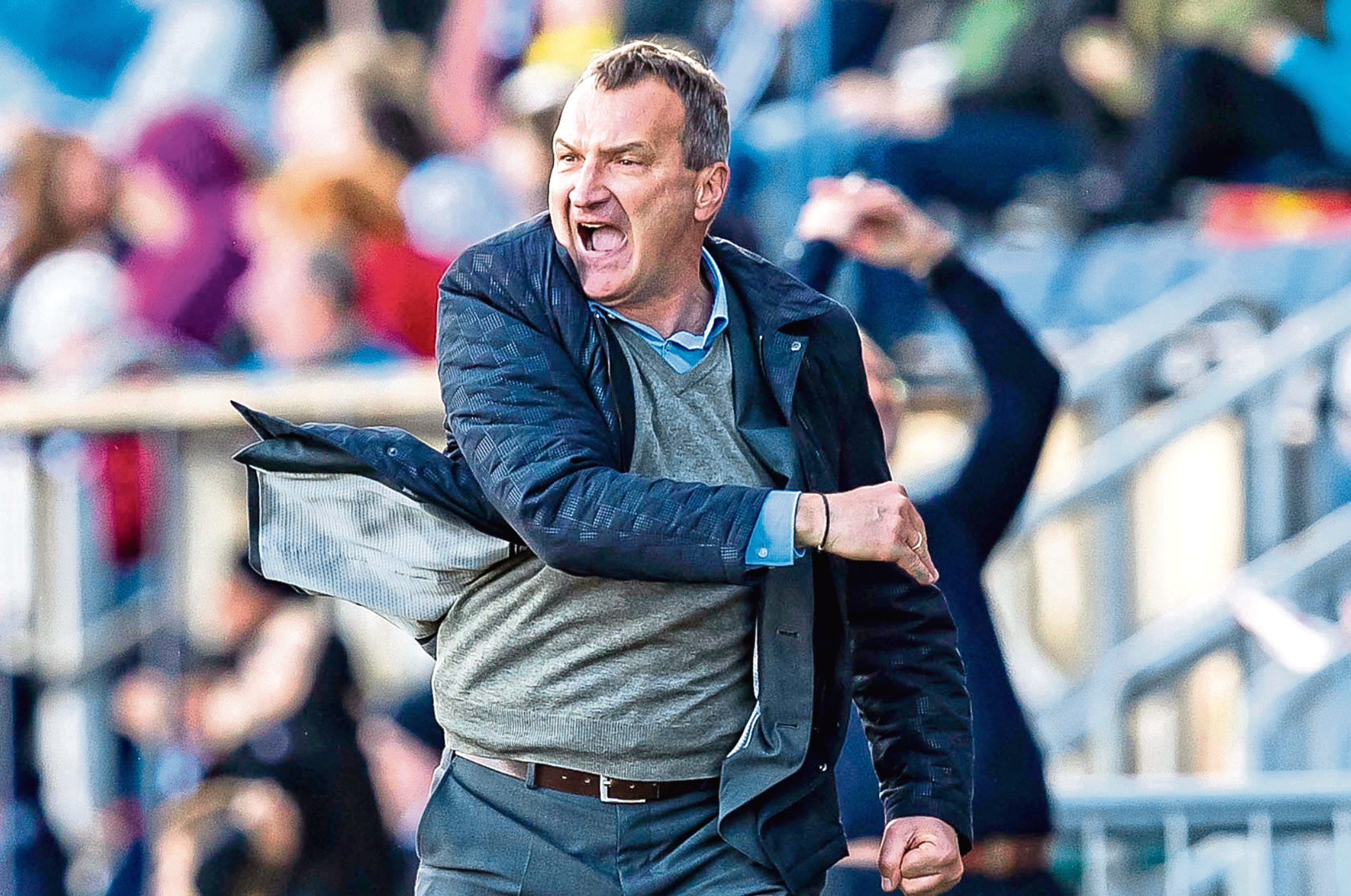 Dundee United manager Csaba Laszlo was animated at Falkirk.