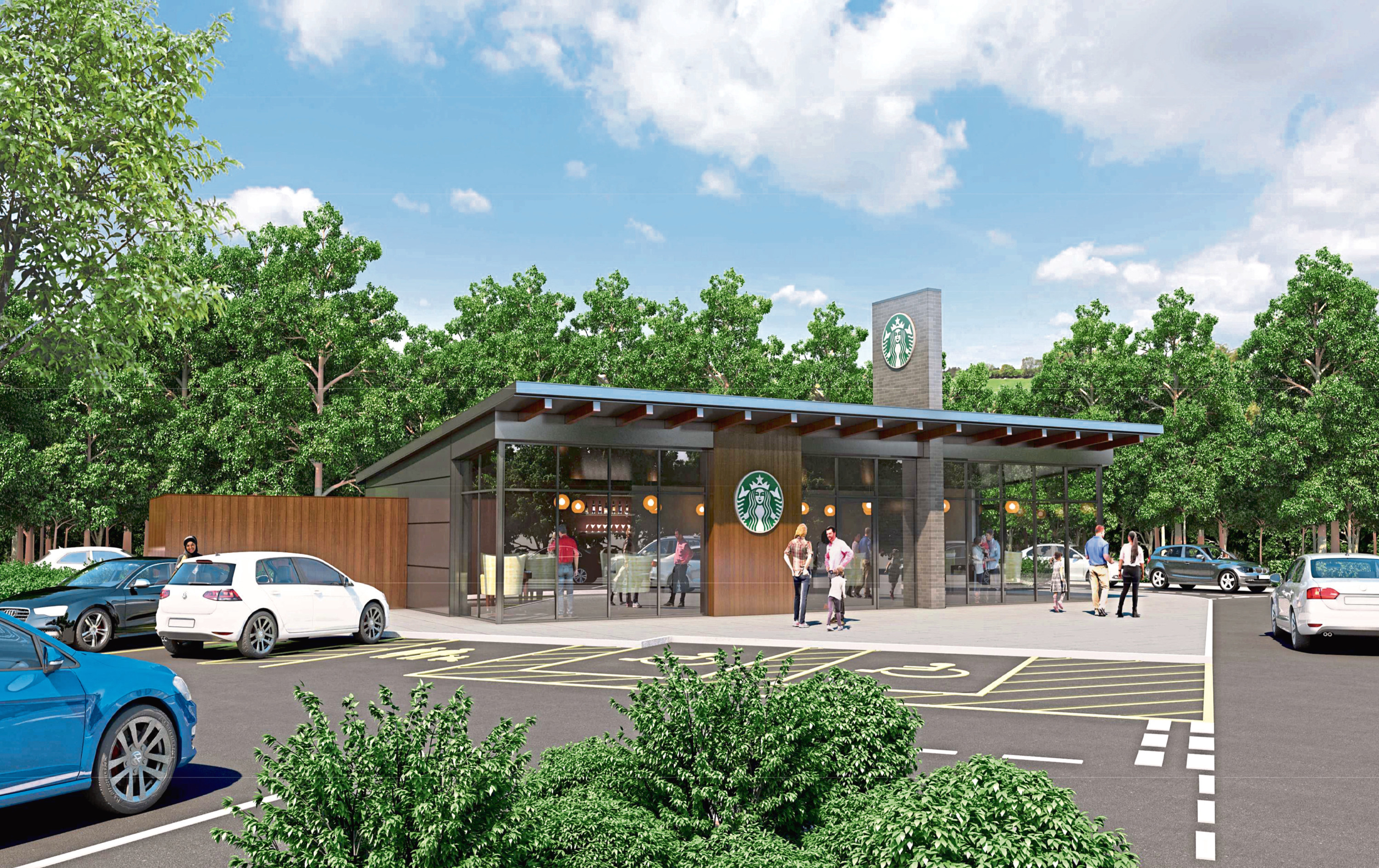 An artist's impression of the planned Starbucks drive-thru at Afton Way near the Morrisons superstore