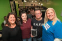 Maryfield councillor Lynne Short, Sharon Brand, child abuse campaigner Dave Sharp and charity officer Suzie Gallagher at the social event.