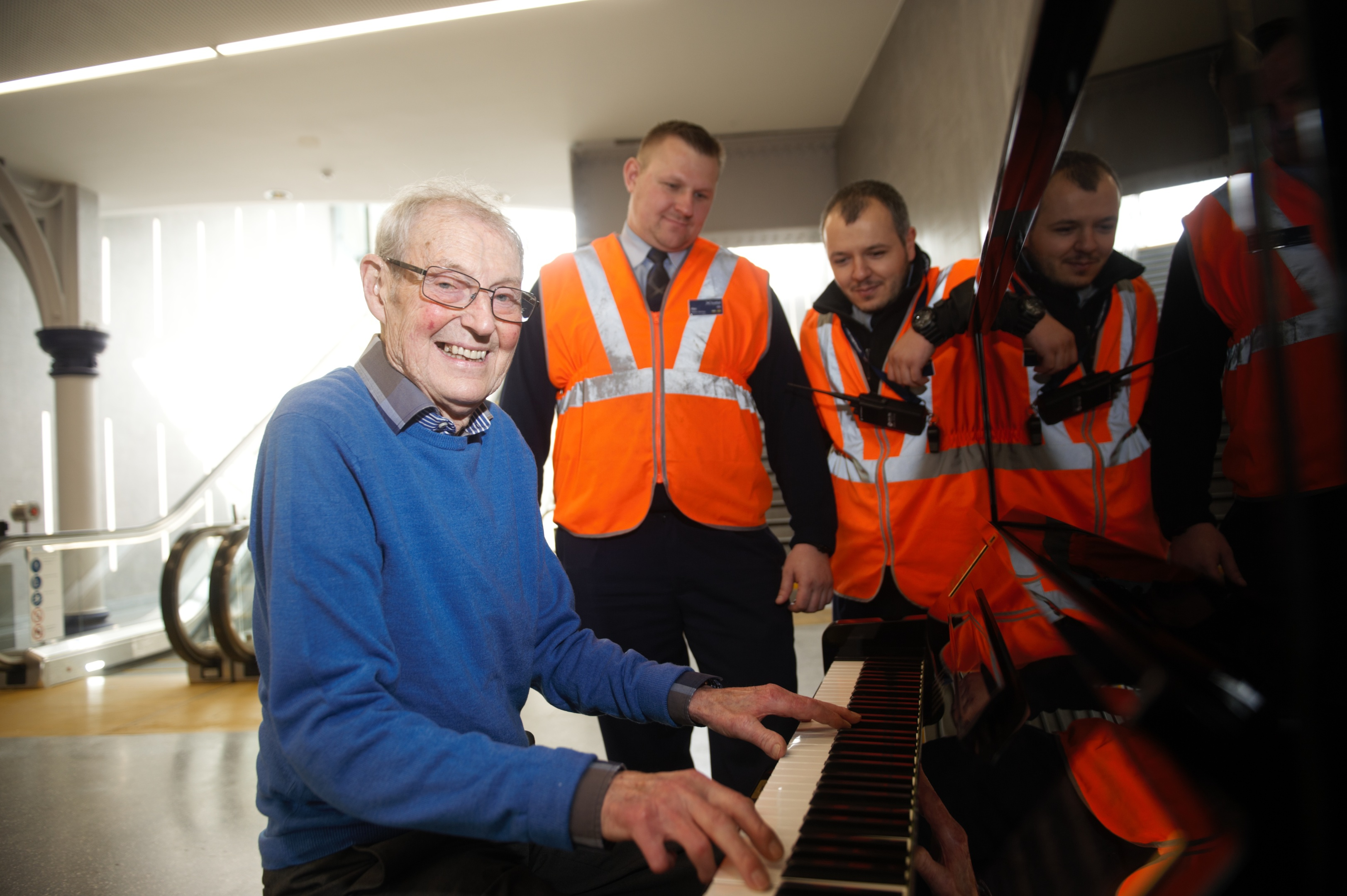 David Patterson plays the new 'People's Piano' at Dundee station