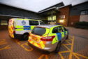 Police outside Links Health Centre, Montrose on Tuesday afternoon