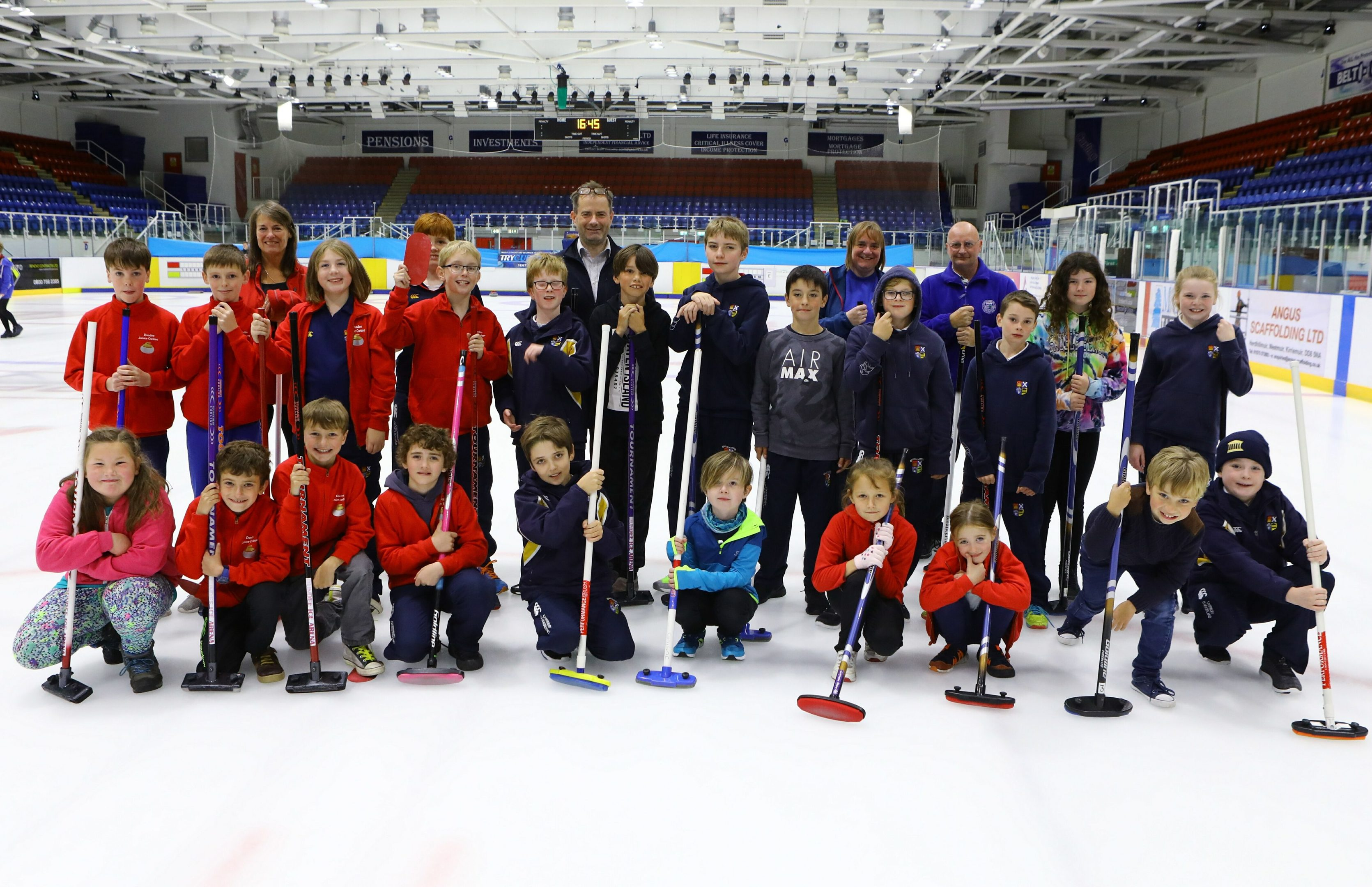 Some members of Dundee Junior Curling Club at the Ice Arena.