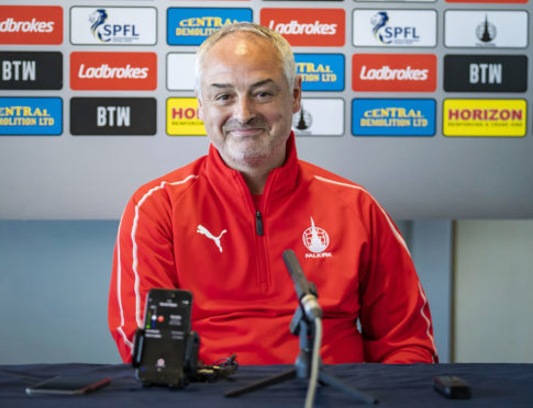 Ray McKinnon faces the press after being appointed Falkirk boss.