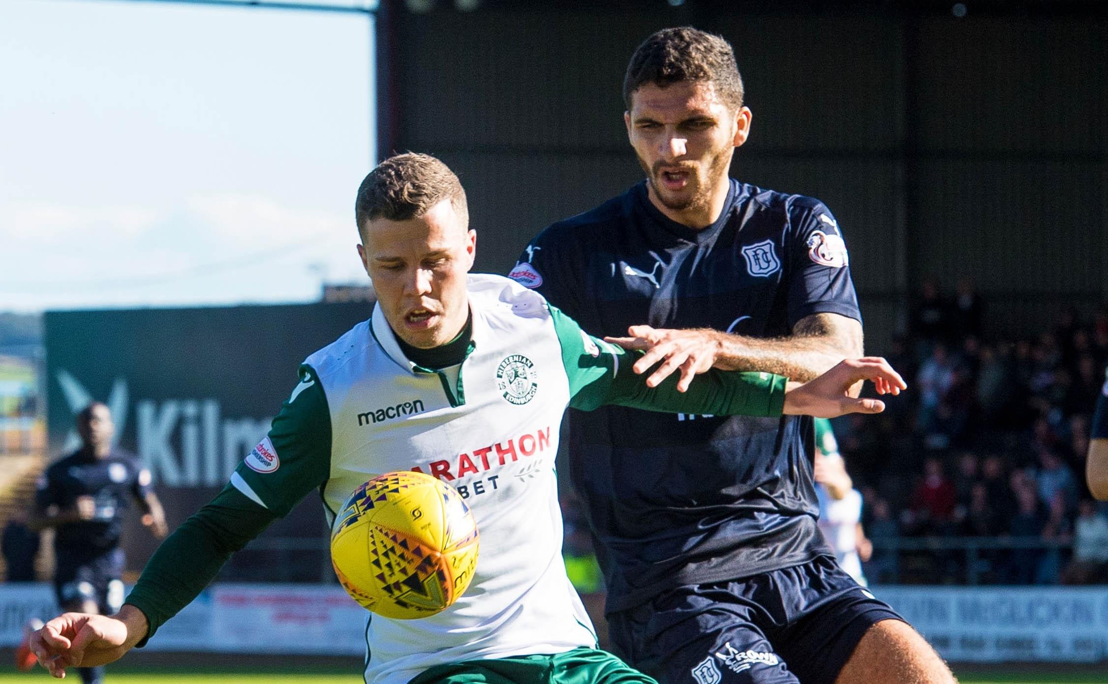Big Dundee defender Ryan Inniss tussles with Hibs forward Florian Kamberi