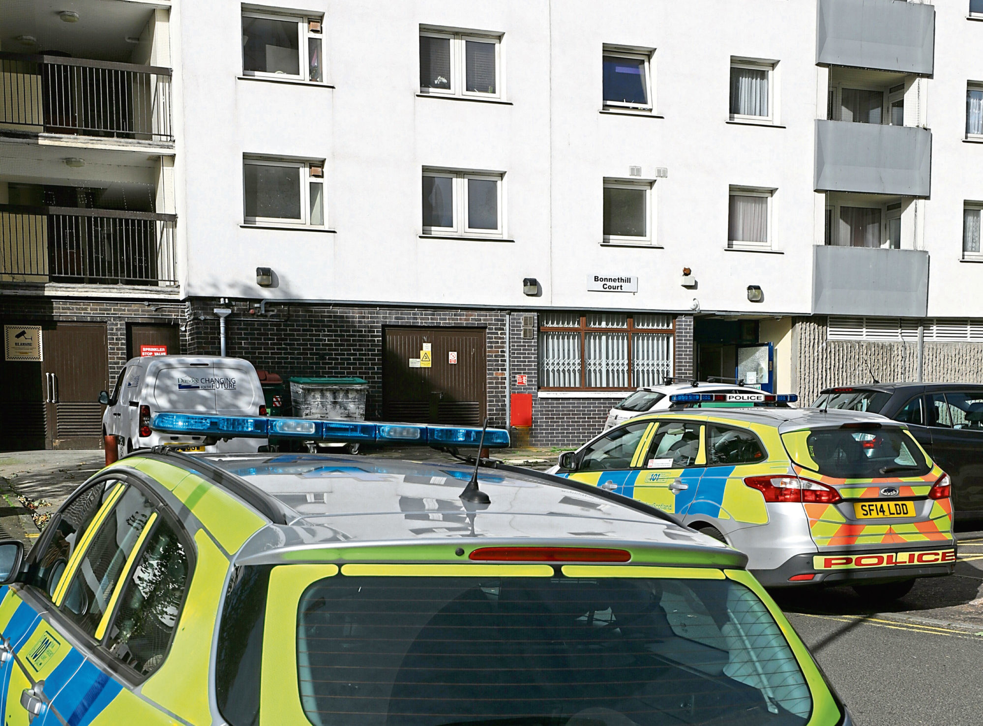 Police presence at Bonnethill Court in Hilltown, Dundee