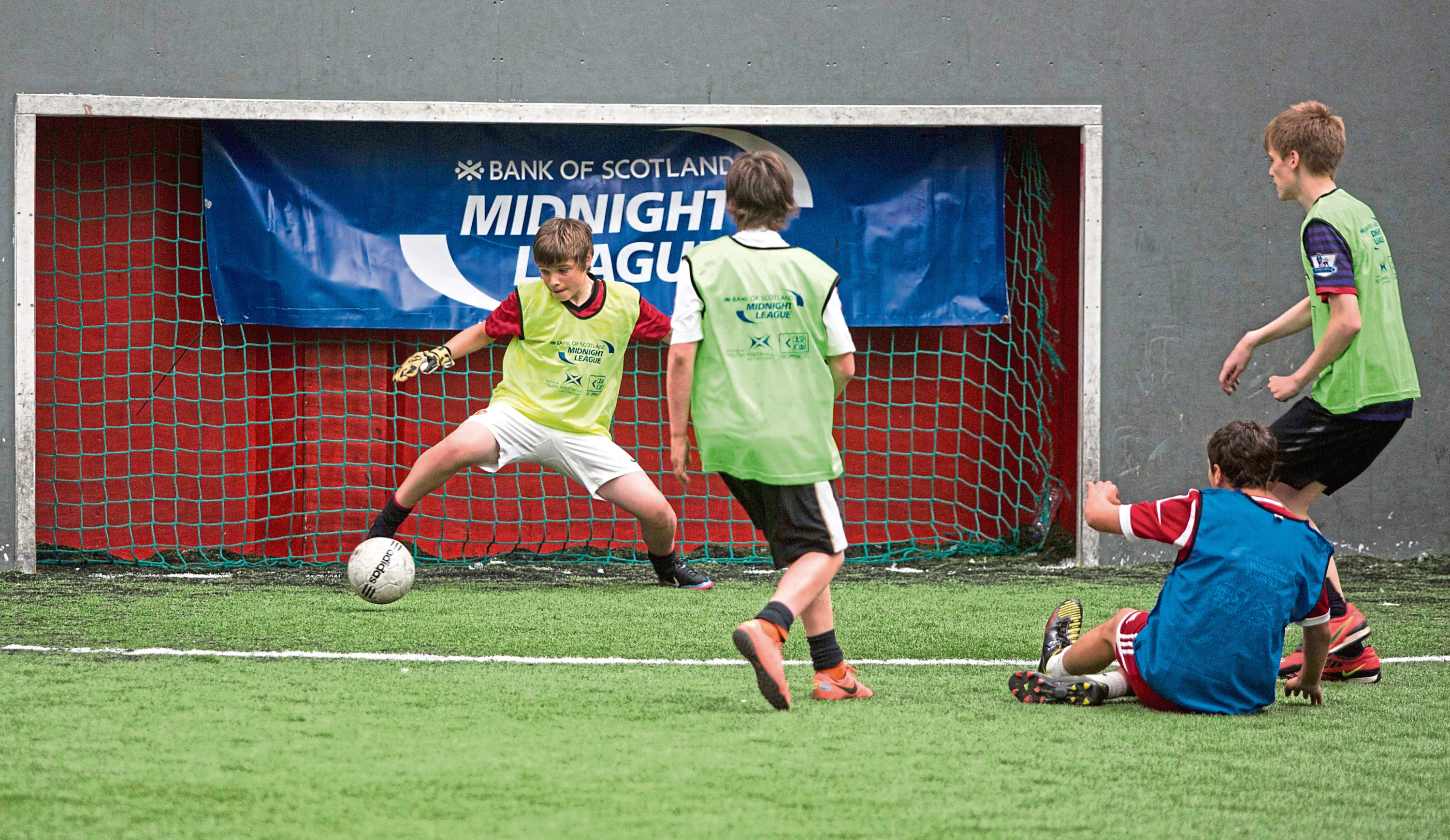 Picture of Bank of Scotland Midnight League North Final in Aberdeen. Taken at Strikers indoor football in Aberdeen