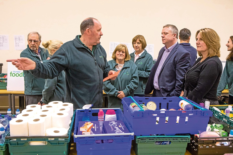 MSPs Bob Doris and Michelle Ballantyne at Dundee Foodbank at St John's Episcopal Church