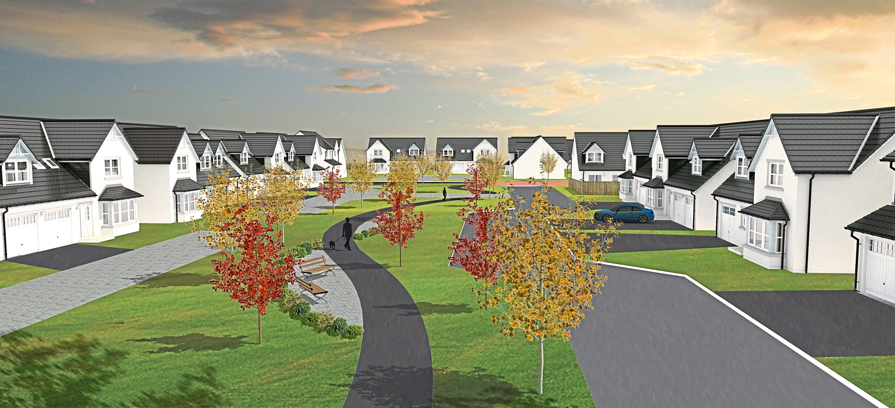 An artist's impression of Kirkwood Homes' plans for 150 new homes in Linlathen