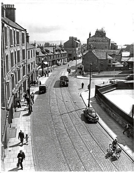 Top of Hilltown, showing Barrie's clock on left and Hill Street on right, in 1956