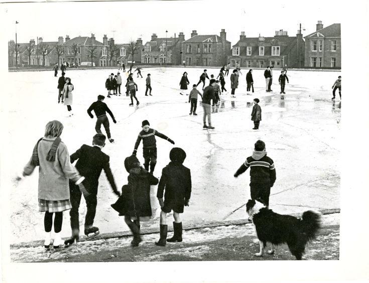 Ice skating at Stobbie Ponds in 1962