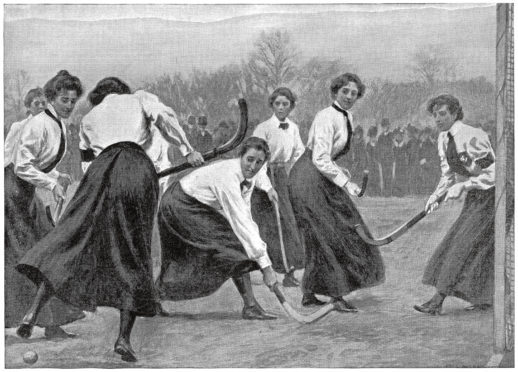 Illustration of Edwardian women hockey players. From The Girl's Own Paper, 2nd January 1904