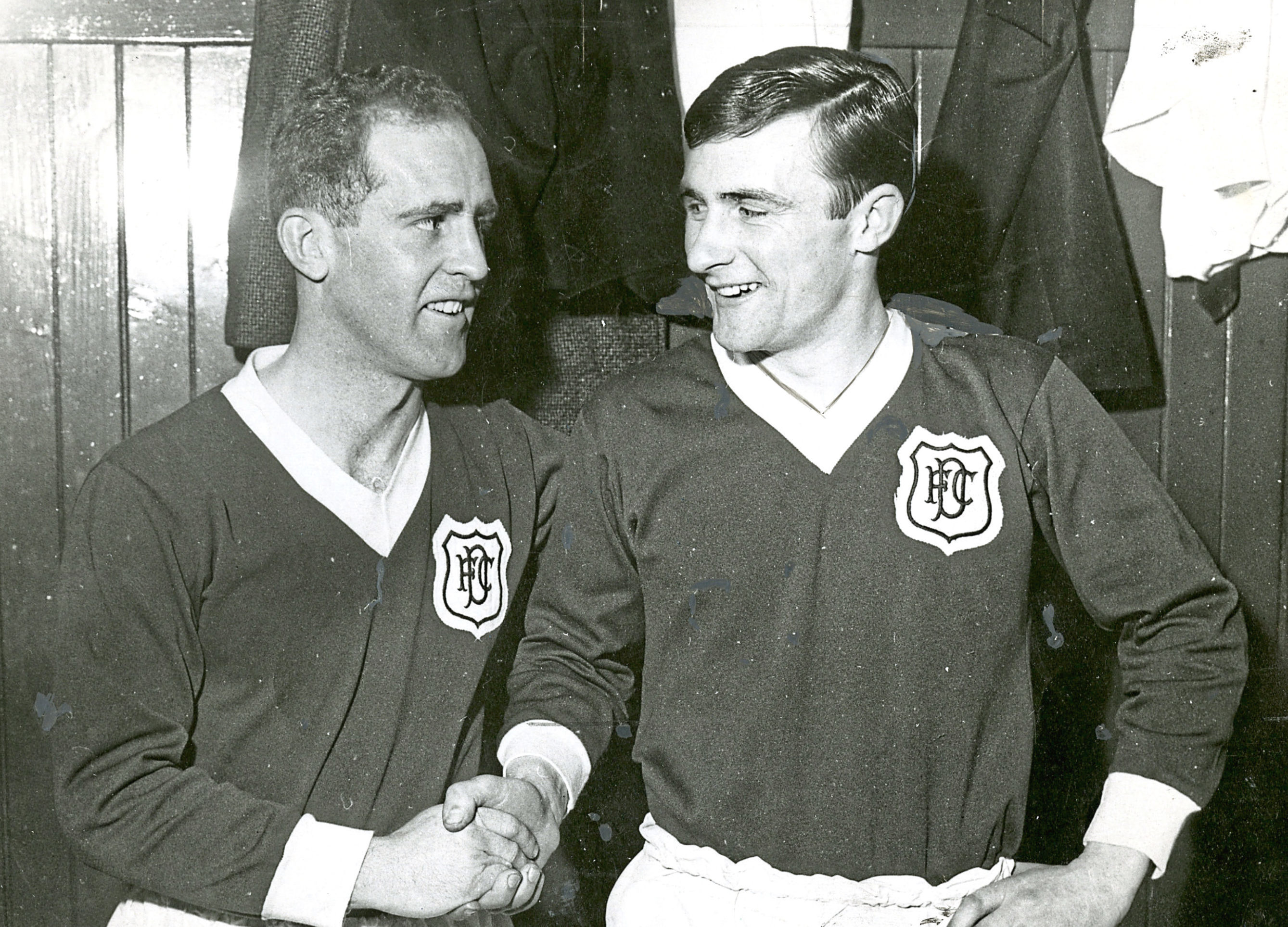 Just about to go out to play for Dundee together for the first time are Sammy Wilson (left) and Bobby Wilson.