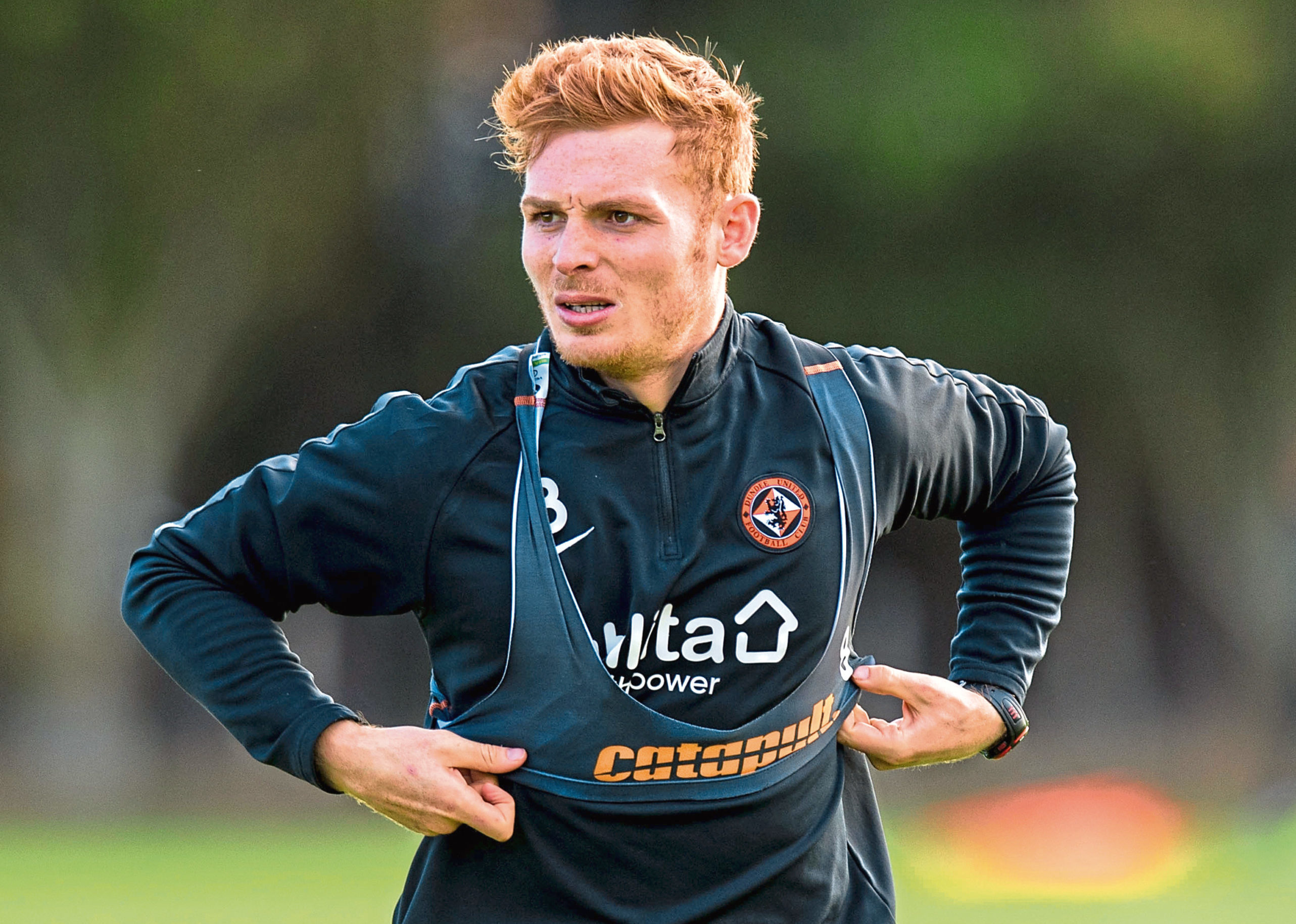 Dundee United's Fraser Fyvie in training at St Andrews.