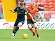 Dundee United's Christoph Rabitsch (right) and Alloa's Jake Hastie in action