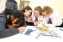 Budding journalists creating Chalk Talk