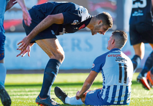 Ryan Inniss lets Jordan Jones know how he feels after he won a penalty in Killie's recent 2-1 win at Dens
